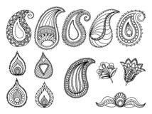 De abstracte Hand-Drawn elementen van het het Patroonontwerp van Paisley Stoffen textiel nationale decoratie royalty-vrije illustratie