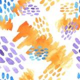 De abstracte hand getrokken borstel strijkt en de verf bespat texturen, naadloos waterverfpatroon Stock Afbeeldingen