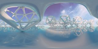 De abstracte HDRI-milieukaart, sferische panoramaachtergrond, lichtbron die met icosahedron teruggeven heeft en hemel 3d equirect Royalty-vrije Illustratie