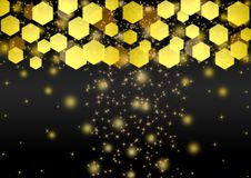 De abstracte Heldere Gouden Lichten, schittert en Bokeh op Donkere Achtergrond stock illustratie