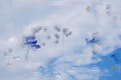 De abstracte hemelachtergrond drijft kubus, uitgedreven uit textuur stock illustratie