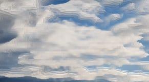 De abstracte hemelachtergrond drijft uitgedreven kubus uit, royalty-vrije illustratie