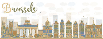 De abstracte horizon van Brussel met kleurengebouwen royalty-vrije illustratie