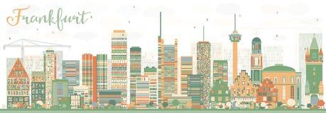 De abstracte Horizon van Frankfurt met Kleurengebouwen Stock Foto