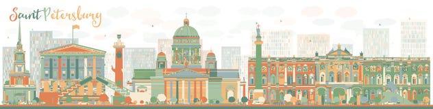 De abstracte horizon van Heilige Petersburg met kleurenoriëntatiepunten Royalty-vrije Stock Afbeeldingen