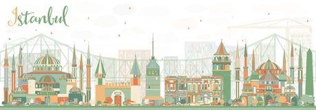 De abstracte Horizon van Istanboel met Kleurenoriëntatiepunten vector illustratie