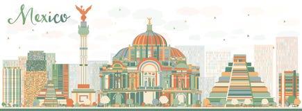 De abstracte horizon van Mexico met kleurenoriëntatiepunten Stock Foto