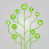 De abstracte illustratie van de pictogramboom - milieu, ecologie en natuurbeschermingconcept Royalty-vrije Stock Afbeeldingen