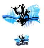 De Abstracte Illustratie van de Silhouetten van het basketbal Stock Foto