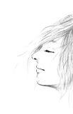 De abstracte illustratie van het vrouwengezicht; De mooie mensen die van het schetsportret met de hand op witte achtergrond trekk Stock Foto's
