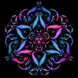 De abstracte illustratie van de mandala heilige meetkunde Mooie abstracte fractal Geheimzinnig ontspanningspatroon Yogamalplaatje royalty-vrije illustratie