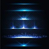 De abstracte Inzameling van de Lensgloed Gloeiende sterren Lichten en Fonkelingen op Transparante Achtergrond Glanzende grenzen V Royalty-vrije Stock Fotografie