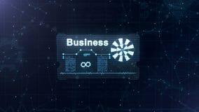 De abstracte kaart met een blauw teken van van een lus voorziend wiel en een andere diagrammen appering Word de zaken verschijnen stock illustratie