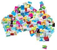 De abstracte kaart van Australië   Stock Afbeeldingen
