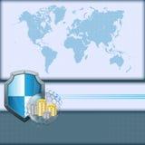 De abstracte kaart van de computer grafische Wereld met schild en broodjes van geld Stock Foto