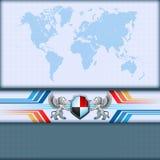 De abstracte kaart van de computer grafische Wereld met schild en twee bewaarders van het leeuwenschild Royalty-vrije Stock Afbeelding