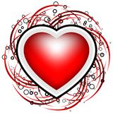 De abstracte kaart van de Valentijnskaart met rollen, cirkels en hartvorm - Royalty-vrije Stock Afbeelding