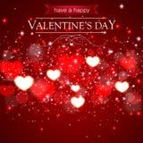 De abstracte kaart van de Valentijnskaartendag met vage harten en fonkelingen Stock Foto