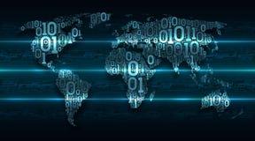 De abstracte kaartwereld met continenten van digitale binaire code inzake de achtergrondsamenvatting drukte kringsraad, Internet  stock illustratie