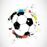 De abstracte kleurrijke bal van het grungevoetbal Royalty-vrije Stock Foto's