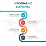 De abstracte kleurrijke elementen cirkel van bedrijfschronologieinfographics, vlakke het ontwerp vectorillustratie van het presen royalty-vrije illustratie