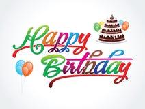 De abstracte kleurrijke gelukkige vectorillustratie van de verjaardagstekst vector illustratie