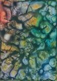 De abstracte kleurrijke kosmische achtergrond van de waterverf acryltextuur stock illustratie