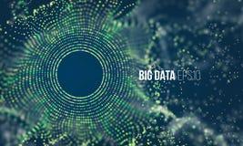 De abstracte kleurrijke stroom van het deeltjesnet met bokeh Wetenschapsstof met gloedachtergrond Futuristische bigdatavisualisat stock illustratie