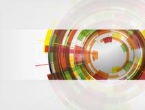 De abstracte kleurrijke technologie omcirkelt vectorachtergrond Stock Afbeeldingen