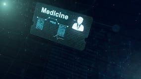 De abstracte medische kaart met hoofd schoot en teken van harttarief, druk en een andere diagrammen Abstracte Blauwe Achtergrond vector illustratie