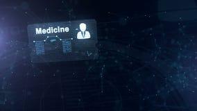 De abstracte medische kaart met hoofd schoot en teken van harttarief, druk en een andere diagrammen Abstracte Blauwe Achtergrond stock illustratie