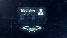 De abstracte medische kaart met hoofd schoot en teken van harttarief, druk en een andere diagrammen De kaart is meer dan drie vector illustratie