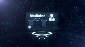 De abstracte medische kaart met hoofd schoot en teken van harttarief, druk en een andere diagrammen De kaart is meer dan drie stock illustratie
