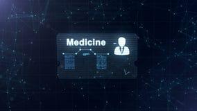De abstracte medische kaart met hoofd schoot en teken van harttarief, druk en een andere diagrammen Verschijning van vector illustratie