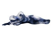 De abstracte mens stelt van droefheidswaterverf het schilderen getrokken hand vector illustratie