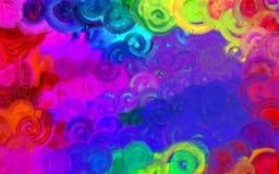 De abstracte Moderne kunstcirkels wervelen kleurrijk patroon Stock Foto