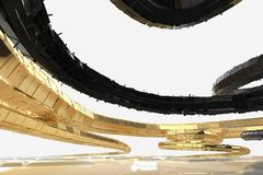 De abstracte moderne toekomstige architectuur bevat vreemd-gevormde gebouwen in de vorm van naar omhoog geleide spiralen facade royalty-vrije illustratie