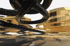 De abstracte moderne toekomstige architectuur bevat vreemd-gevormde gebouwen in de vorm van naar omhoog geleide spiralen facade stock illustratie
