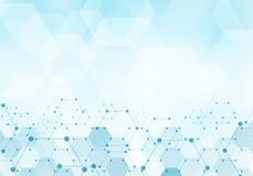 De abstracte molecule van het zeshoekenpatroon op blauw achtergrondtechnologie digitaal concept met exemplaarruimte Geometrische  vector illustratie