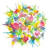 De abstracte mooie gemengde achtergrond van de kleurenwaterverf geschilderde cirkel Stock Foto's
