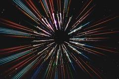 De abstracte motie van snelheidslijnen, met sterrenachtergrond, ruimtevaart, het concept van de tijdreis Royalty-vrije Stock Afbeelding