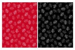 De abstracte Naadloze Vectorpatronen van Kerstboomtakjes Zwart, rood en wit ontwerp stock illustratie