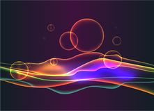 De abstracte neongolven en de bellen, vloeistof schitteren stock illustratie