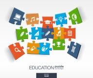 De abstracte onderwijsachtergrond, verbonden kleurenraadsels, integreerde vlakke pictogrammen 3d infographic concept met school,  Stock Afbeelding