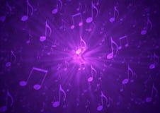 De abstracte Ontploffing van Muzieknota's op Onscherpe Grungy Donkere Purpere Achtergrond royalty-vrije stock foto's