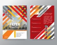 De abstracte oranje & Rode van de het jaarverslagdekking van de weefselbrochure Vlieger P stock illustratie