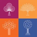 De abstracte organische vectoren van het de pictogrammenembleem van de boomlijn - eco & bioontwerp Royalty-vrije Stock Fotografie