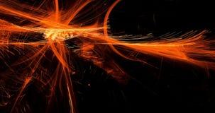 De abstracte Patronen op Donkere Achtergrond met Oranje Lijnen buigt Deeltjes stock videobeelden