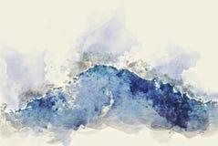 De abstracte piek van de kleurenberg en de illustratieachtergrond van de boomwaterverf stock fotografie