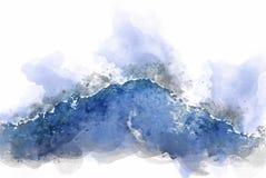 De abstracte piek van de kleurenberg en de illustratieachtergrond van de boomwaterverf royalty-vrije stock foto's